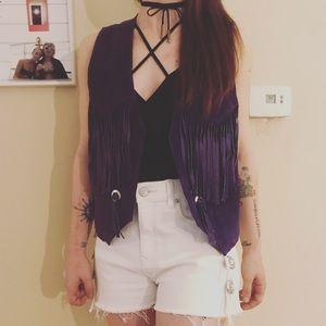 80's Purple Fringe Vest